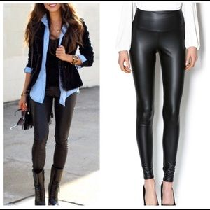 Pants - Black High Waisted Faux Leather Leggings